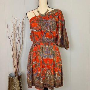 NWT Angie Orange Paisley Boho One Shoulder Dress